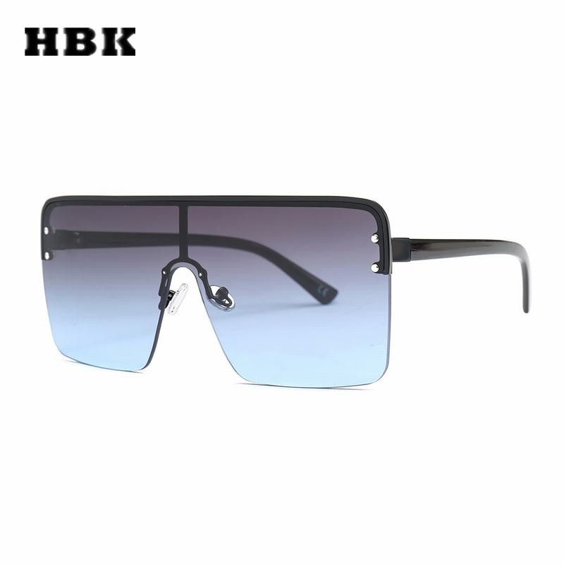 HBK Oversized cuadrado gafas de sol Retro Semi-Rimless marco grande mujeres hombres diseño 2018 nuevas gafas gradiente lente plana UV400