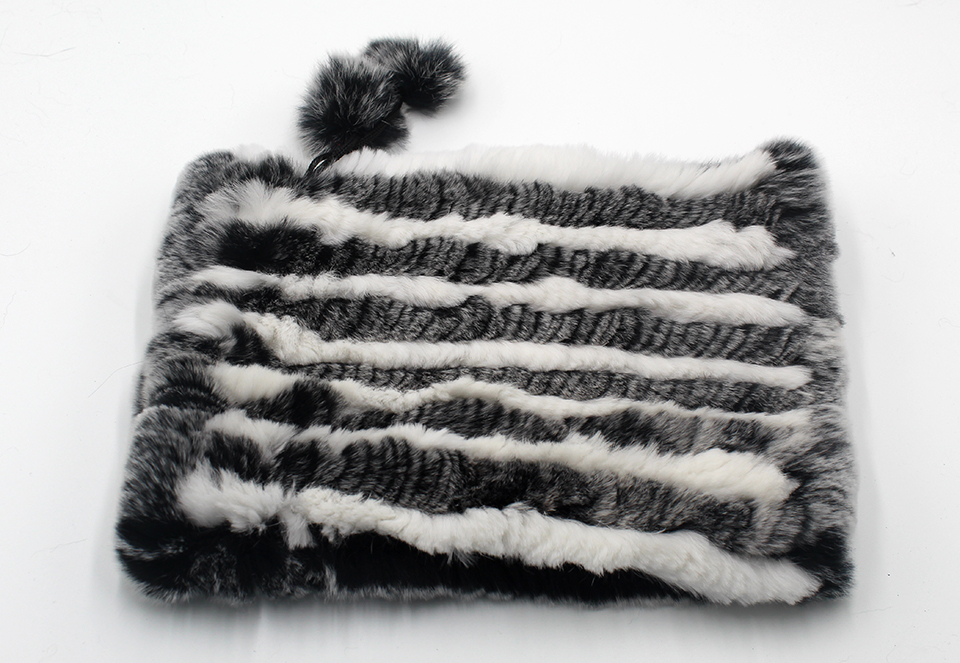 Womens Winter Hats Scarf Knitted Real Rabbit Fur Hat Natural fur Neck Scarf Girls Winter Warm Hat Beanies (19)