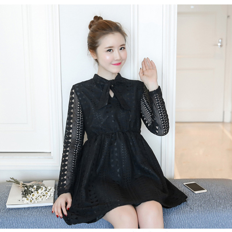 Elegant Maternity Women Lace Dress Long Sleeve Pregnant Tops Bow Spring Autumn Pregnancy Clothes Maternity Dresses White Black