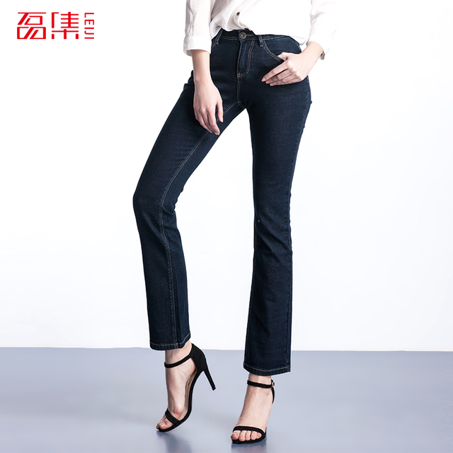 S-6 XL 2015 fashion loose mid waist elastic plus size women Casual Jeans zipper fly women jeans light washed Denim Flare pants