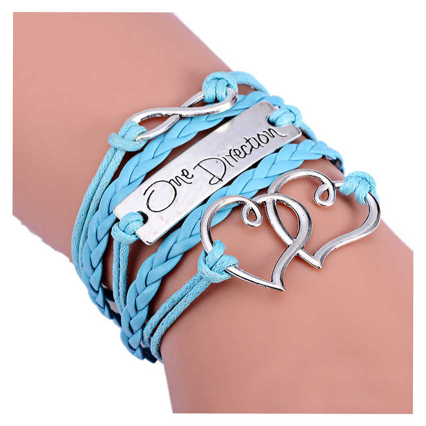 Fashion Infinity Love Heart One Direction Friendship Leather Charm Bracelet 17.5+4.5cm Light blue
