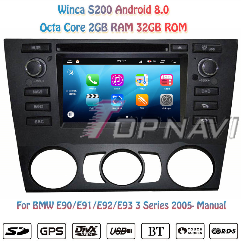 Topnavi S200 Octa Core Android 8.0 Car DVD Multimedia Player for BMW E90 Manual Audio Radio Stereo 2DIN GPS Navigation In Dash