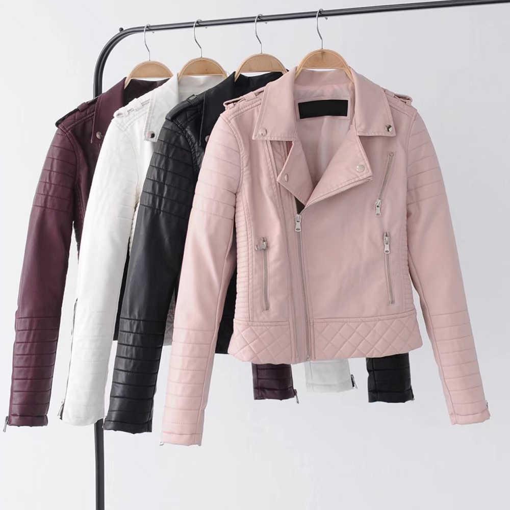 เสื้อหนังเสื้อแจ็คเก็ตรถจักรยานยนต์ฤดูใบไม้ร่วงแขนยาวซิปเสื้อหนัง Faux สีขาวสุภาพสตรีเสื้อ Outerwear
