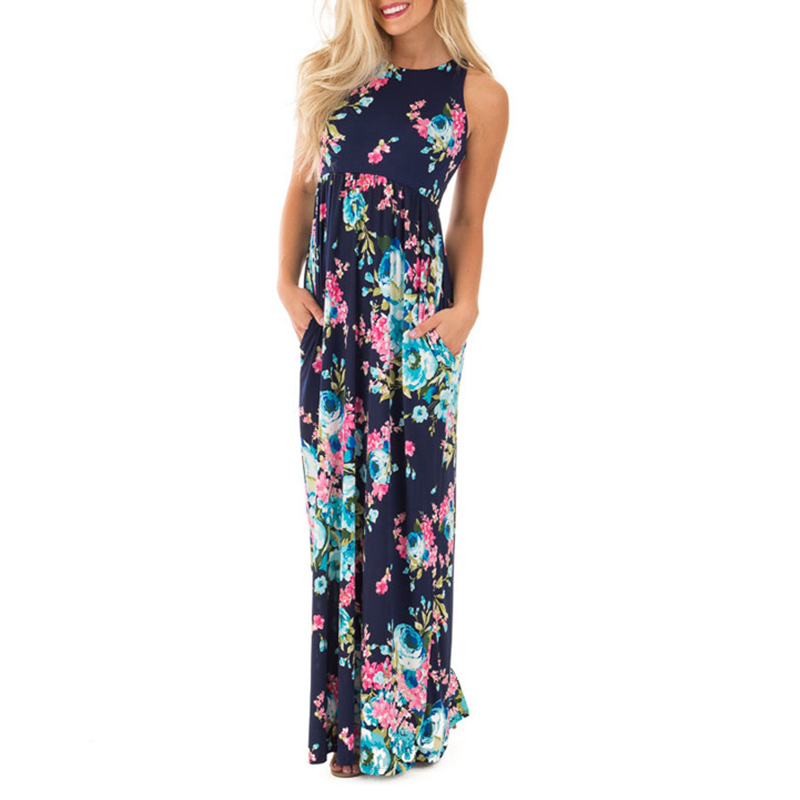 Boho Floral Printed Sundress O-neck Summer Sexy Pleated Maxi Dress 2017 Casual Beachwear Femininos Vestidos Plus Size LX328 2