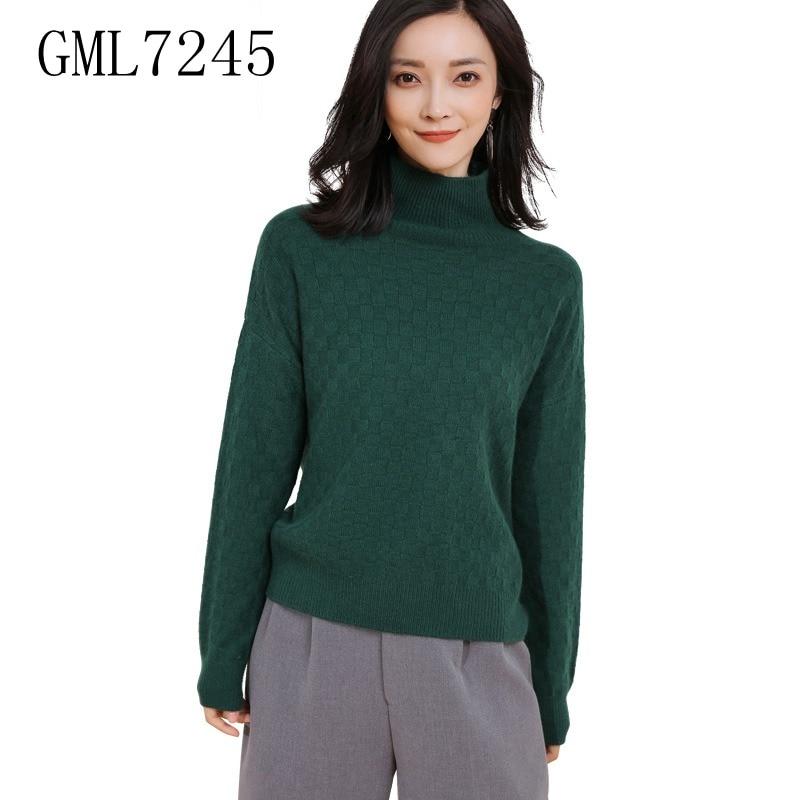 2017 latest design women turtleneck jacquard diamond pattern sweater girls stylish knitted pullover sweater- GML7245