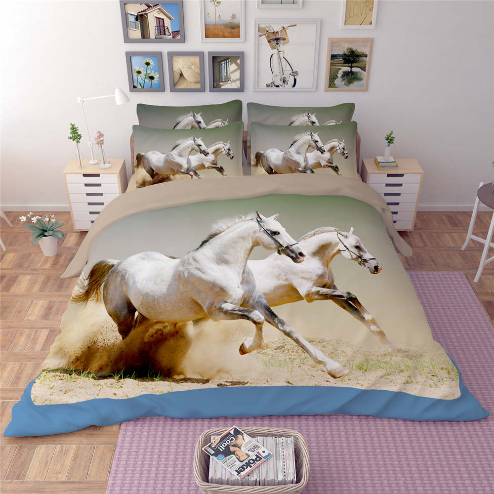running horses 3d print quilt cover bedding sets for boys teens twin full queen king sizes bed in a bag 34pcs woven bedding sets from home