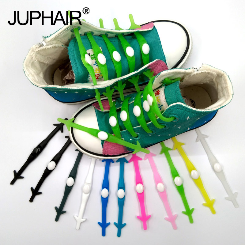 JUP 1 Set /12 Pcs High Quality Round Shoelace Gift Unisex Elastic Silicone Shoe Laces For All Sneaker No Tie Shoelaces Wholesale