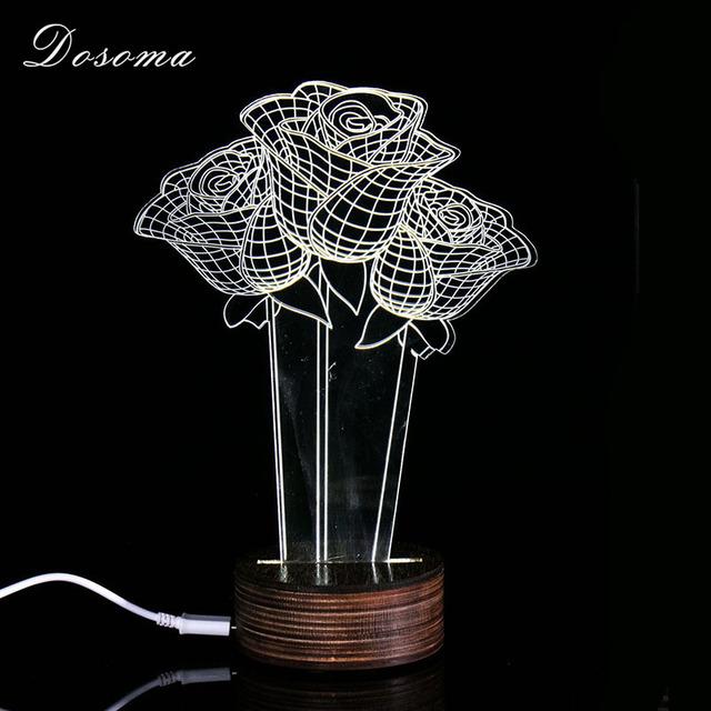 3D LED Valentines Day Roses White