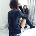 Novelty Women Navy Blue Knitted Sweater Back  Bandage HollowWinter Autumn Pullovers O-neck Casual Slim Striped Knitwear P20