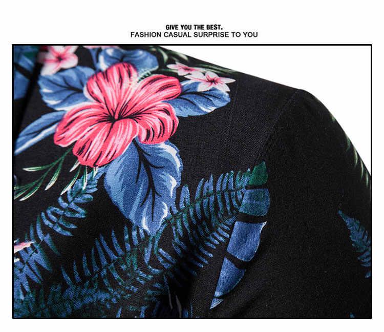 Для мужчин s Гавайские рубашки мужской повседневное Camisa Masculina цветочный принт пляжная рубашка мужчин Мужская рубашка навыпуск с ярким рисунком короткий рукав летней Вечери