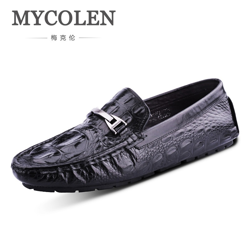 MYCOLEN Men Loafers Slip On Casual Shoes Crocodile Skin Leather Shoes Men Flats Shoes Male Genuine Leather Breathable Chaussure men s crocodile emboss leather penny loafers slip on boat shoes breathable driving shoes business casual velet loafers shoes men