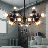 creative American loft vintage glass pendent lamp E27 led chandlier modo drop lights for dining room bar cafe shop deCOR A152 3