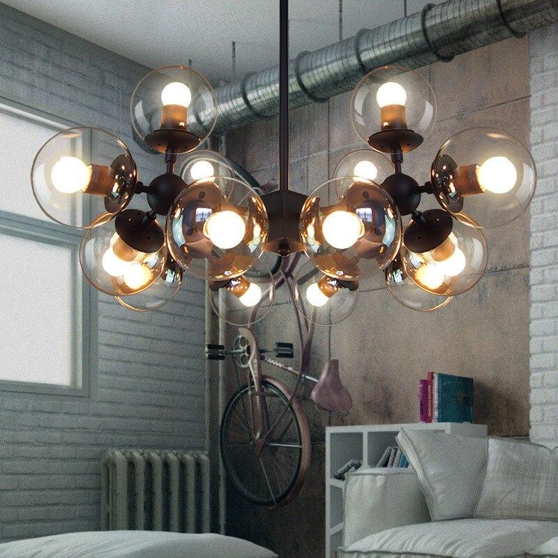 creative American loft vintage glass pendent lamp E27 led chandlier modo drop lights for dining room bar cafe shop deCOR A152 3
