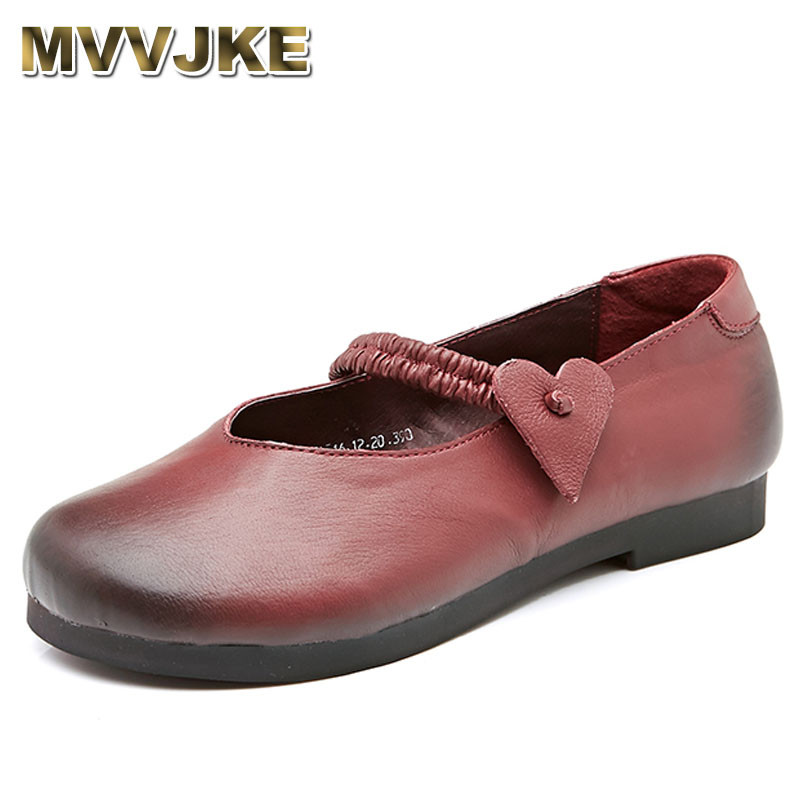 MVVJKE Ballet Flats Women 2018 New Arrival Casual Handmade Genuine Leather Shoes Cow Muscle Soft Loafers Slip On Ladies Shoes summer women ballet flats genuine leather shoes ladies soft non slip casual shoes flower slip on loafers moccasins zapatos mujer
