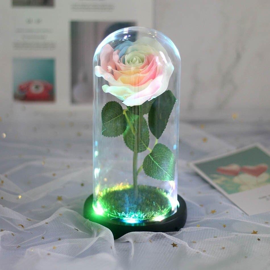 Красота и с рисунком из мультфильма «Красавица и Чудовище» в виде красных роз с яркие светодиодные светильник в Стекло купол для Свадебная вечеринка, подарок на день Святого Валентина, подарок на день матери - Цвет: 02