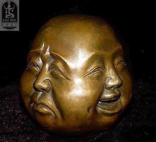 OLD SIGNED BRONZE Carved Buddhism Buddha Head Sculpture Statue 4 Faces