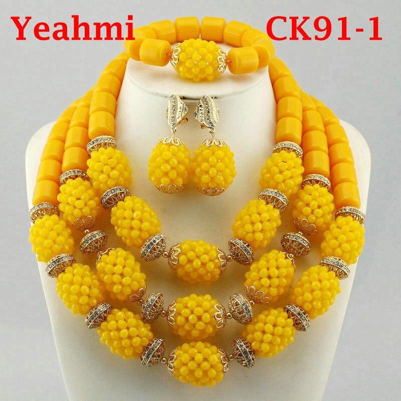 Fantastic Gold Bridal Beads African Jewelry Set Nigerian Women Costume Wedding Statement Necklace Set CK91-1 цена
