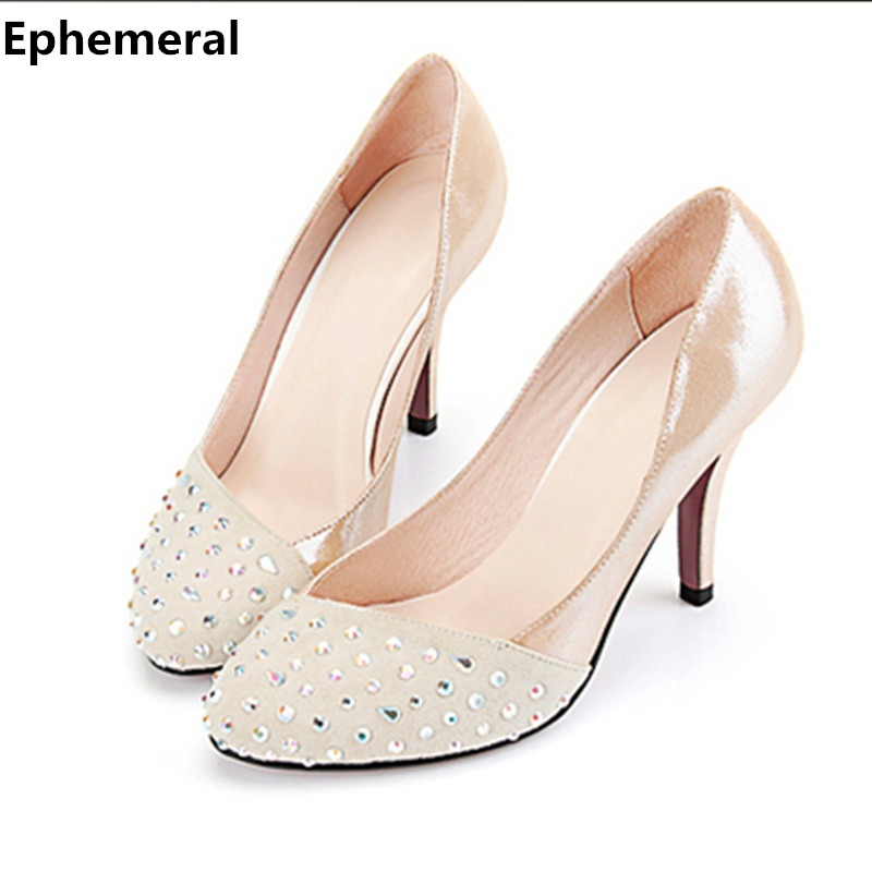 Lady Plus Size 35-46 Elegant Customized Luxury Diamond Round Toe Genuine Real leather High Heels Shoes Women Pumps Party Wedding lady plus size 35 46 sexy mesh patching customized luxury diamond pointed toe genuine leather high heels shoes women pumps party