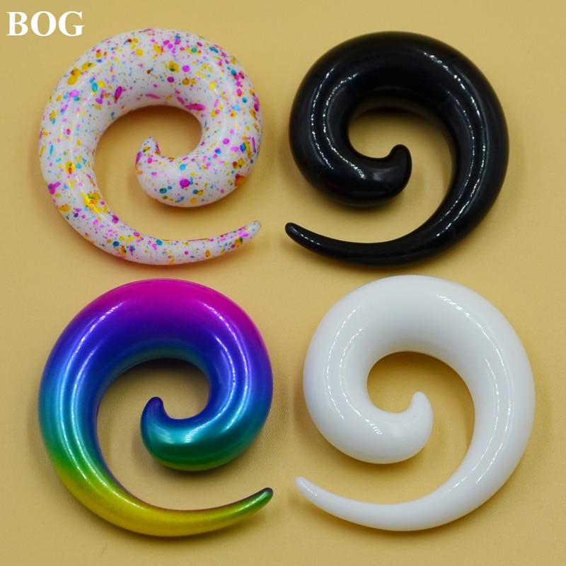 Par espiral orelha taper macas tampões de ouvido calibres expansores earlobe brinco piercing jóias do corpo branco & preto tamanho grande
