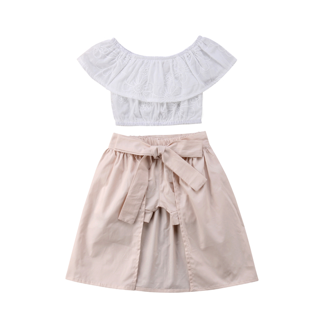 f5708ecd9e2 Girl Clothes Boutique Kids Baby Girls 2018 Emmababy Summer Cute Floral Off  Shoulder Tops Sashes Skirt Clothes Outfit