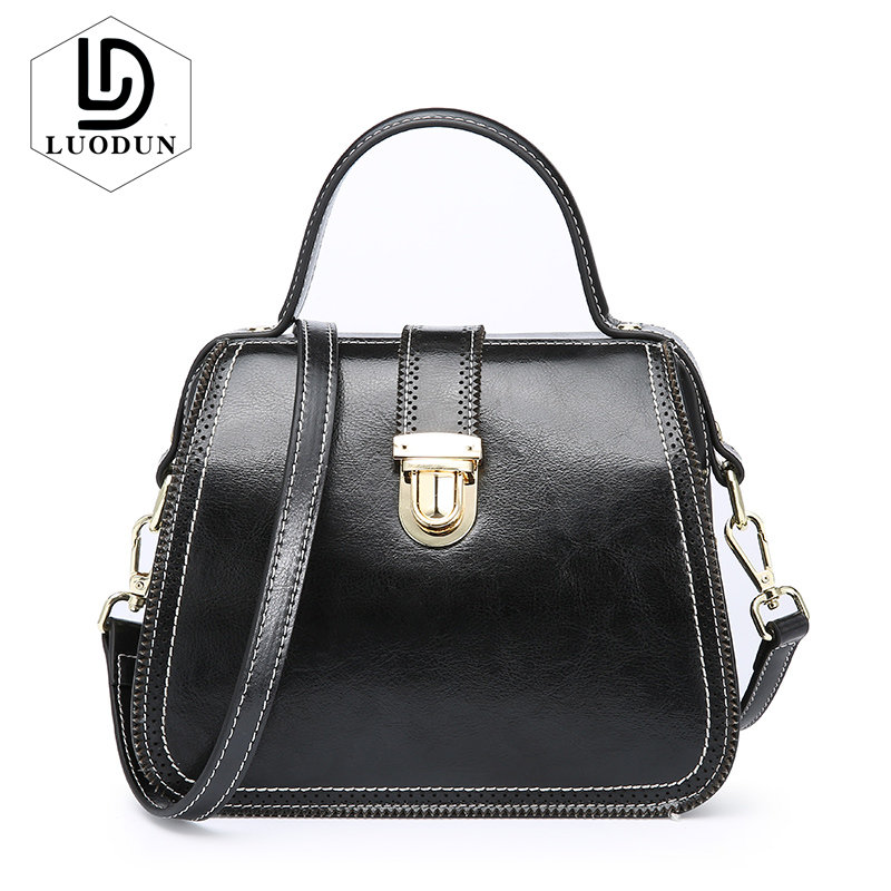 LUODUN ladies Leather bag new handbags fashion simple commuter split leather hand shoulder bag female big bag Daily Shopping bag стоимость