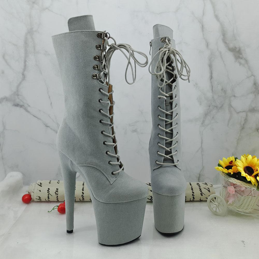 Leecabe Newest 20CM/8inches Pole dance boot with denim High Heel platform Boots open toe  Pole Dancing bootLeecabe Newest 20CM/8inches Pole dance boot with denim High Heel platform Boots open toe  Pole Dancing boot