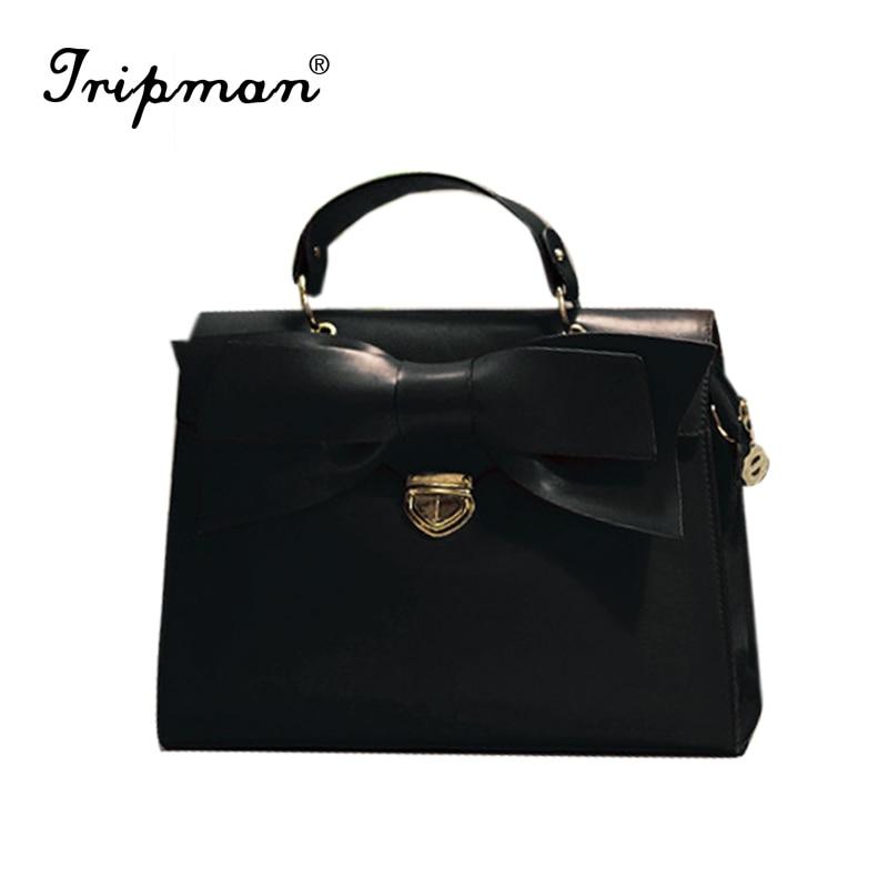 ФОТО 2016 Hot Sale Bow fashion brand women shoulder bag Tote Messenger leather handbags