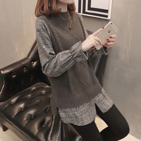 Plus Size Loose Pullovers for Pregnant Women Knit Plaid Patchwork Flare Sleeve Cute Top Pregnancy Fashion Clothing 4 colors