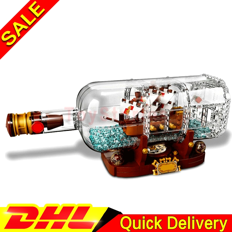 все цены на Lepin 16051 Creative Ideas Pirates of Caribbean Ship in a Bottle Building Block Bricks Kids Toys Clone LegoingS 21313 lepin Toys