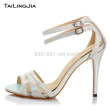 цены Silvery High Heel Open Toe Buckle Woman Sandals Thin High Heel Women Summer Handmade Brand Quality Shoes Plus Size Free Shipping