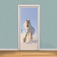 2pcs/set 3D Animal Door Stickers Horse Tiger Giraffe Art Murals Decal Door Wall Home Bedroom Living Room Decor 38.5X200cm
