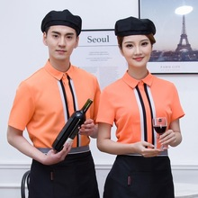 2018 summer Women Restaurant Waiter Uniform Western Food Cafe Waitress Uniform Coffee Shop Overalls Fast Food Service Work Wear