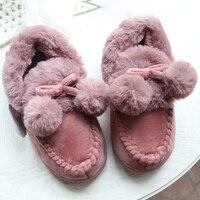 Pele Das Mulheres De inverno Chinelos Home Indoor Sapatos Macios Homens Grossas de Pelúcia Bolas Bonito Casal Amante Sapatos Adultos