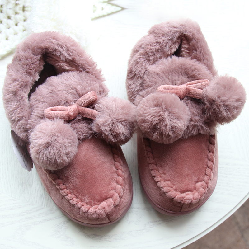 Winter Women Fur Soft  Indoor Home Slippers Shoes Men Thick Plush Cute Balls Couple Lover Adult Shoes plush home slippers women winter indoor shoes couple slippers men waterproof home interior non slip warmth month pu leather
