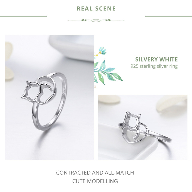 BAMOER Authentic 100% 925 Sterling Silver Naughty Little Cat & Heart Finger Ring for Women Sterling Silver Jewelry Gift SCR104 5