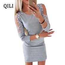 цена на QILI Autumn Women Cold Shoulder Dress O-neck Long Sleeve Lace Beading Dresses Casual Party Mini Short Dress Female