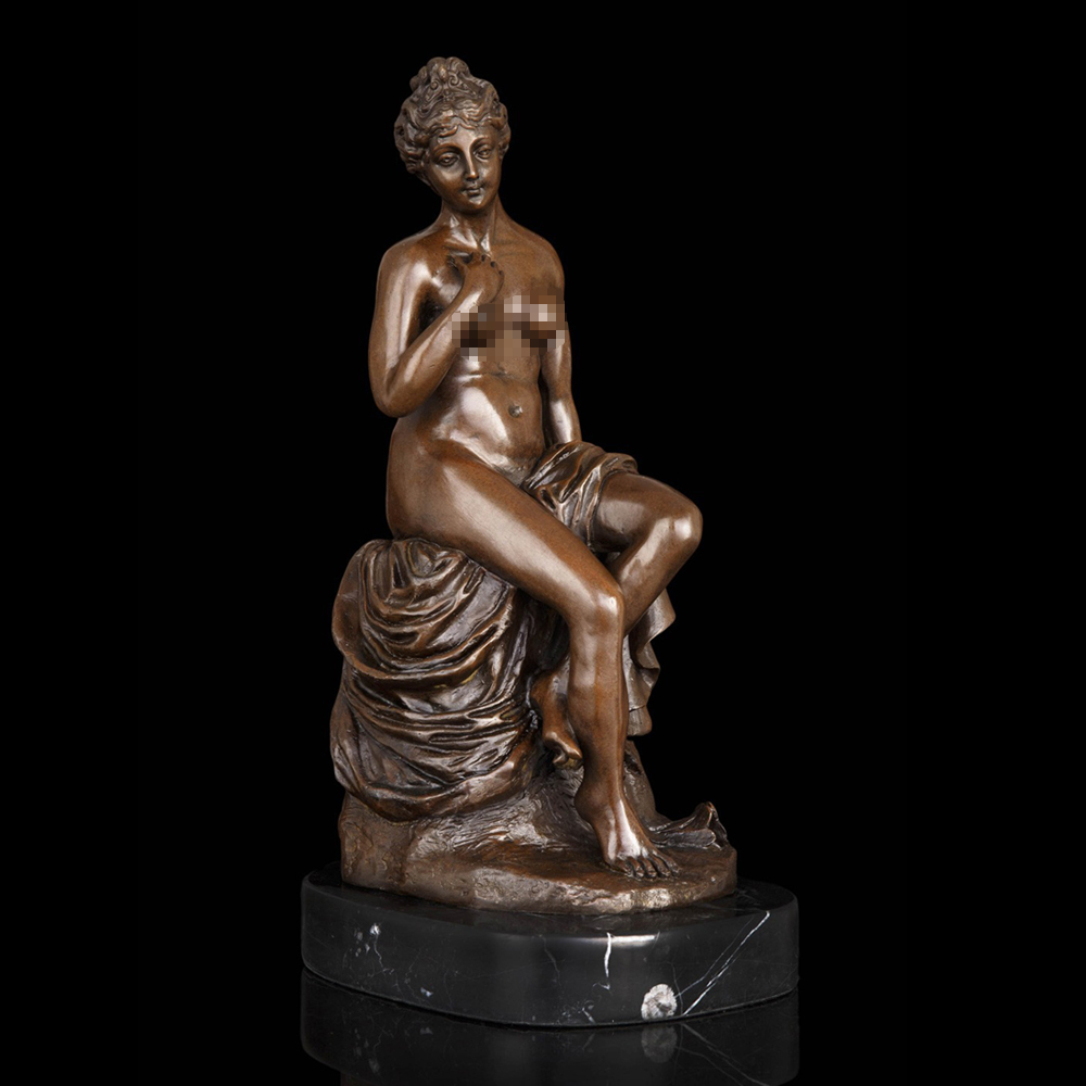 ATLIE BRONZES Pure Bronze Naked Woman Sculpture Western Nude Fat Lady Sitting Bronze Statue Female Figurines Bedroom Decor
