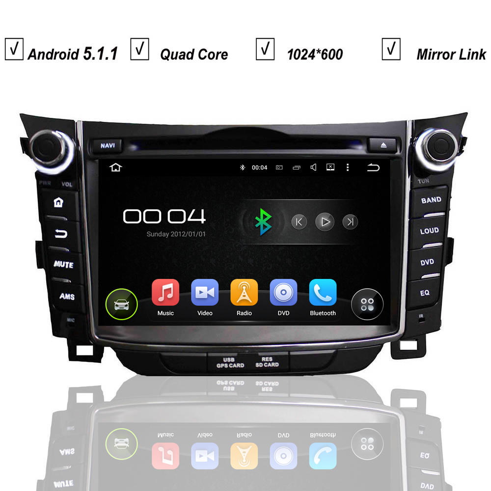 Car in dash entertainment system auto gps navigation for hyundai i30 2011 2013 android 5 1