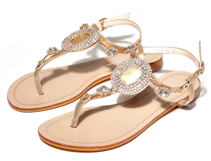 Online Buy Wholesale Cheap Gold Flip Flops From China -1054