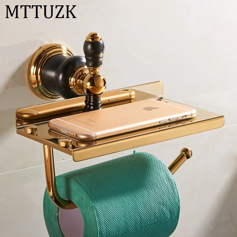 MTTUZK New Luxury Wall Mounted Brass Gold Paper Box Roll Holder Toilet Paper Holder Shelves Tissue Box Bathroom Accessories polished gold solid brass toilet paper holder tissue box luxury high quality wall mounted roll holder toilet accessories sets t1