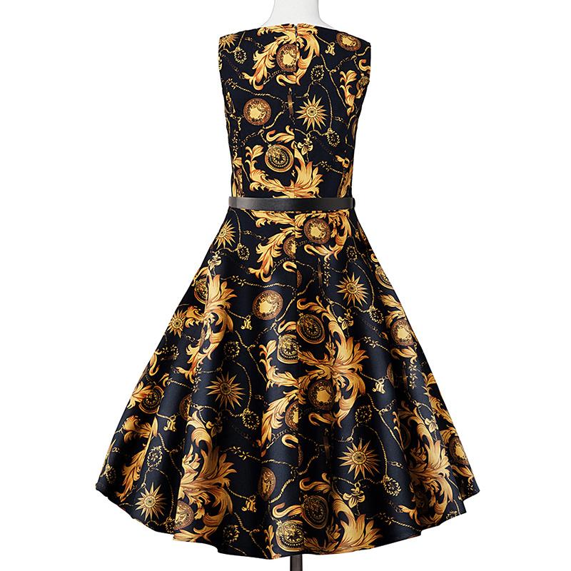 Kostlish Elegant Print Women Summer Dress Sleeveless Cotton Hepburn 50s 60s Vintage Dress With Belt Casual A-Line Ladies Dresses (30)