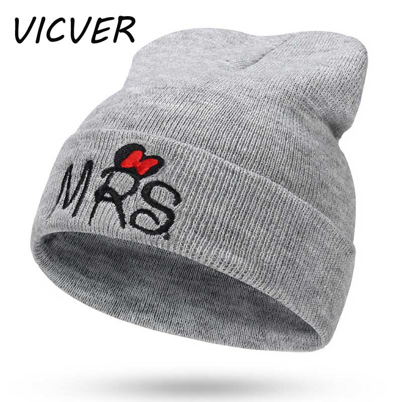 New Winter Children MR/MRS Letter Embroidery Knit   Beanie   Warm Baby Hats Soft   Skullies     Beanies   kids Crochet Cap Cotton Knit Hat