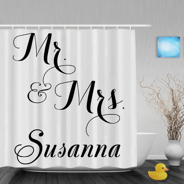 Personalized Mr Mrs Monogrammed Shower Curtain Custom Wedding Decor Bathroom Curtains Polyester Fabric