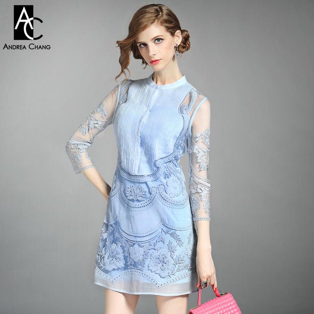 Primavera verão runway designer mulheres vestidos de branco azul rosa plissado peito bordados de flores de moda evento marca do vintage dress