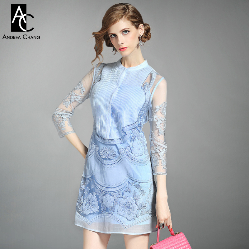 Buy Cheap spring summer designer runway womens dresses white blue pink pleated chest vintage flower embroidery fashion brand event dress