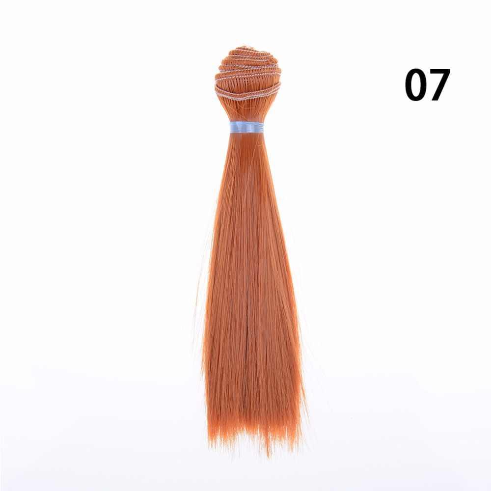 1 pçs boneca peruca cor natural 15 cm longo cabelo reto de alta temperatura grosso para bjd boneca perucas de cabelo acessórios da boneca