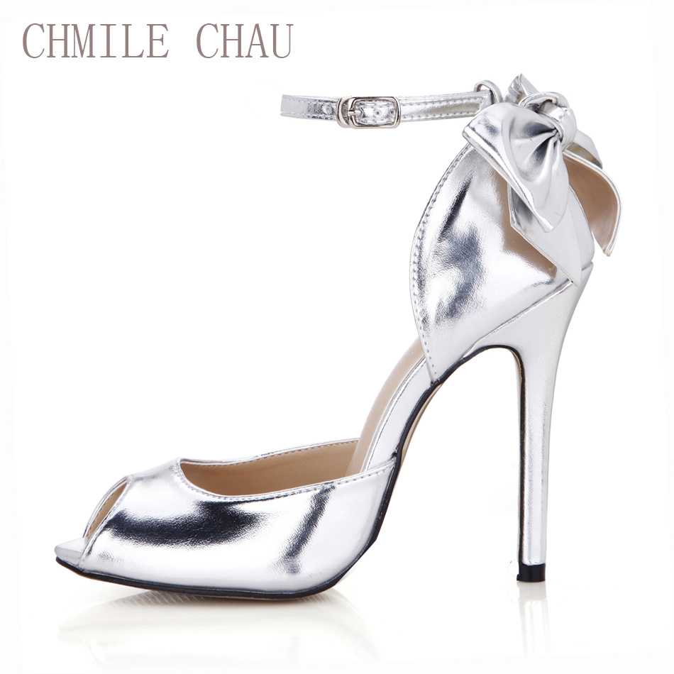 CHMILE CHAU Silver Metallic PU Elegant Bridal Party Women Shoes Peep Toe Thin Heel Ankle Strap Bow Pumps Zapatos Mujer 0640C-k3