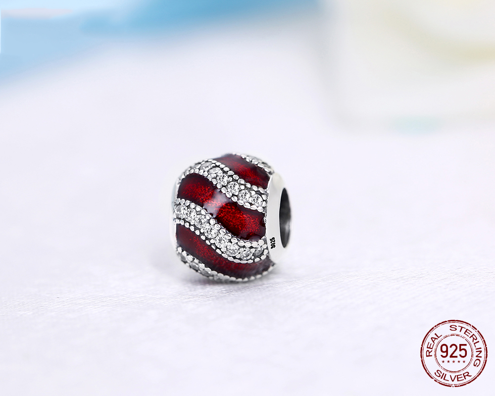 925 Sterling Silver Bead Fashion Red Waves Crystal Beads
