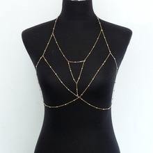 Vintage Gold Silver Color  Multilayer Sexy Beach Bikini Harness Tassel Necklace Women Bralette Jewelry