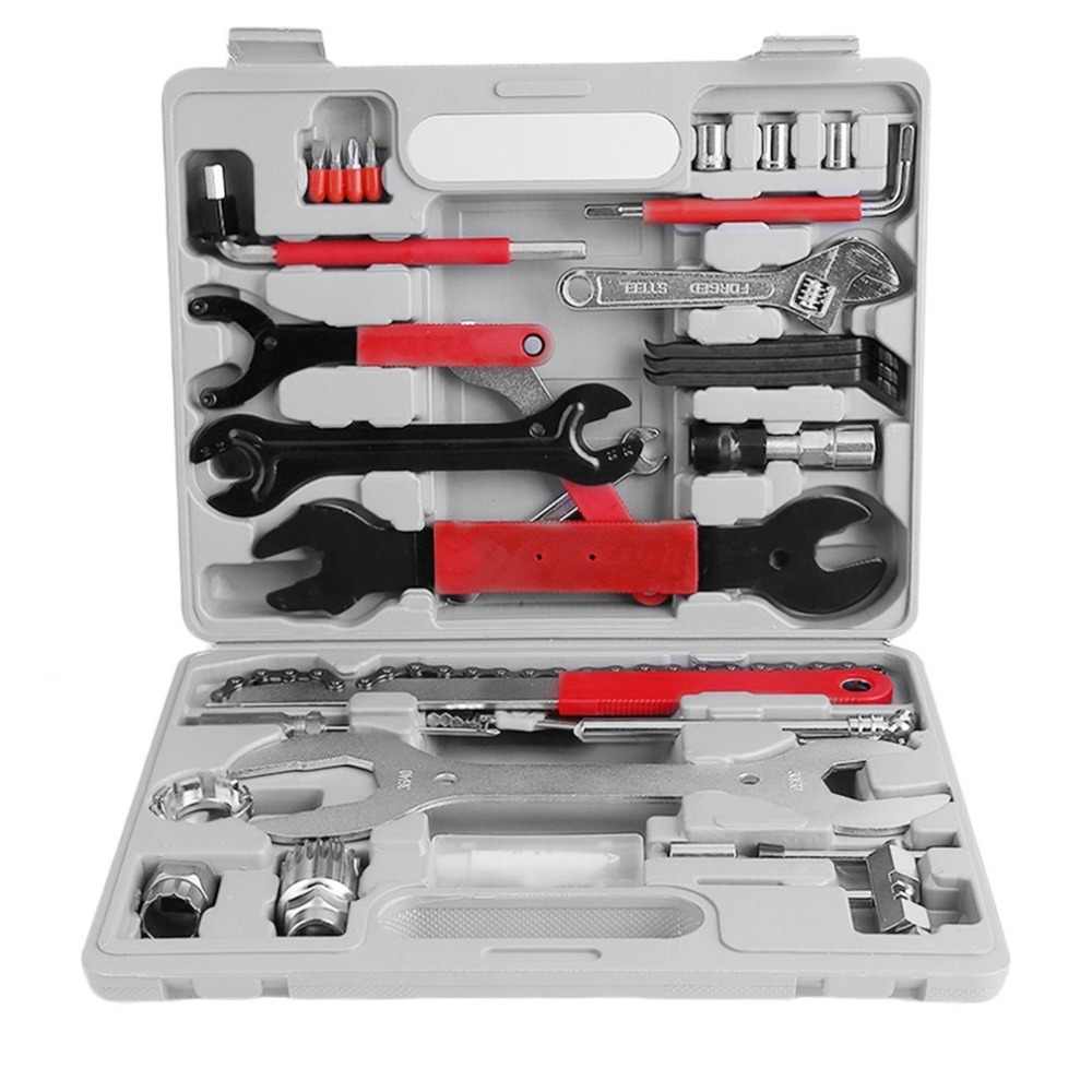 44PCS/Set Mountain Bike Patchs outdoor tool Bicycle Accessories Repair box diagnostic tools Kit Valuables Cycling Chain case